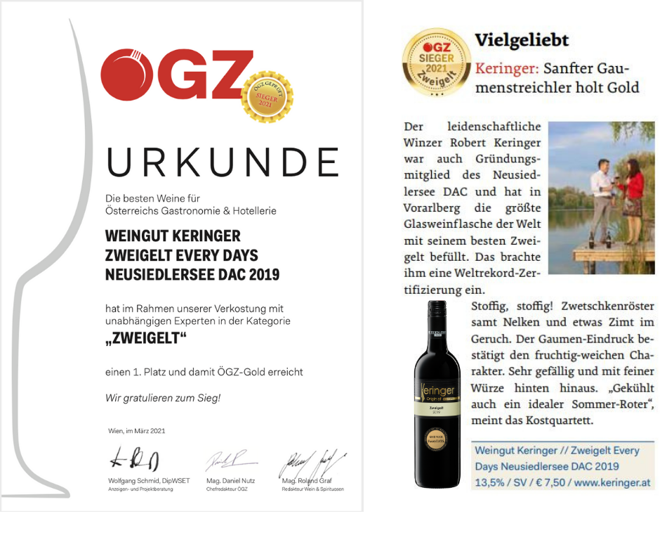 Urkunden ÖGZ - GOLD und 1. Platz für Zweigelt Every DAYS 2019 - ein Neusiedlersee DAC Wein